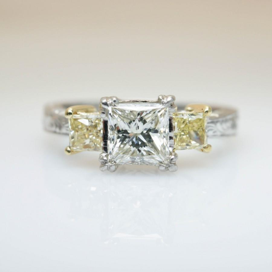 aa9f5704b3e9a Unique Vintage Tacori Diamond Engagement Ring Yellow Diamond Ring 3 ...