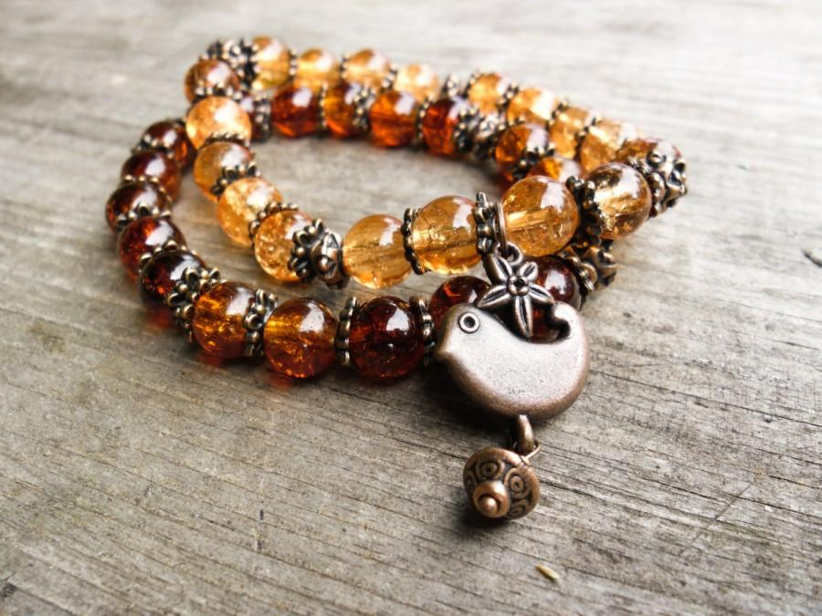 Charm Bracelet Brown With Bird Copper Set Two For Women Beaded Gl Her Gift
