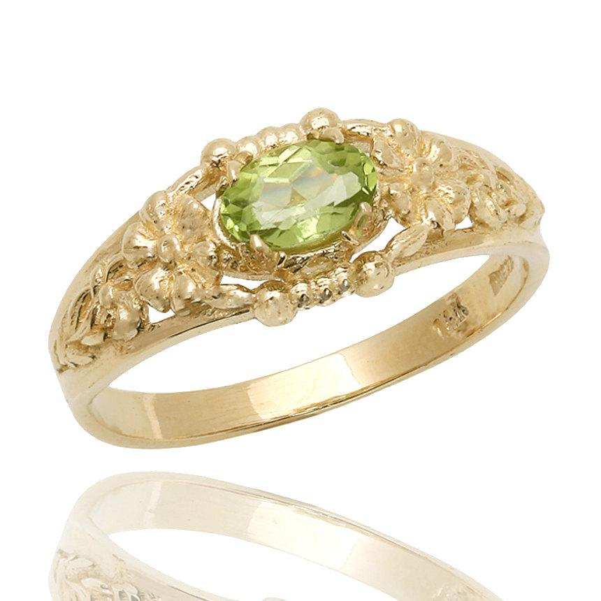 زفاف - 18K Gold Peridot Ring, Vintage Style Ring, Green Peridot Engagement Ring, Floral Engraved Ring, Floral Ring, Peridot Jewelry, Wedding Ring