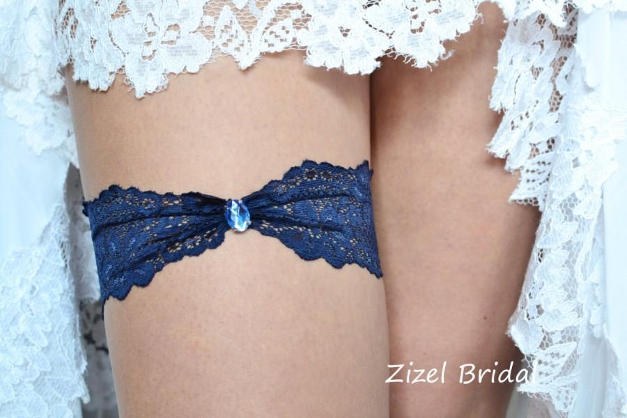 Mariage - Wedding Garter, Blue Wedding Garte, Bridal Garter, Dark Blue Garte, Lace Blue Garter, Something Blue,Toss Garter, Blue lace Garter
