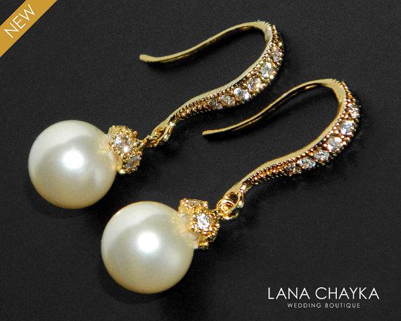 زفاف - Bridal Ivory Pearl Earrings Pearl Drop Vermeil Gold Cz Earrings Swarovski 8mm Pearl Gold Wedding Earrings Small Ivory Pearl Bridal Earrings