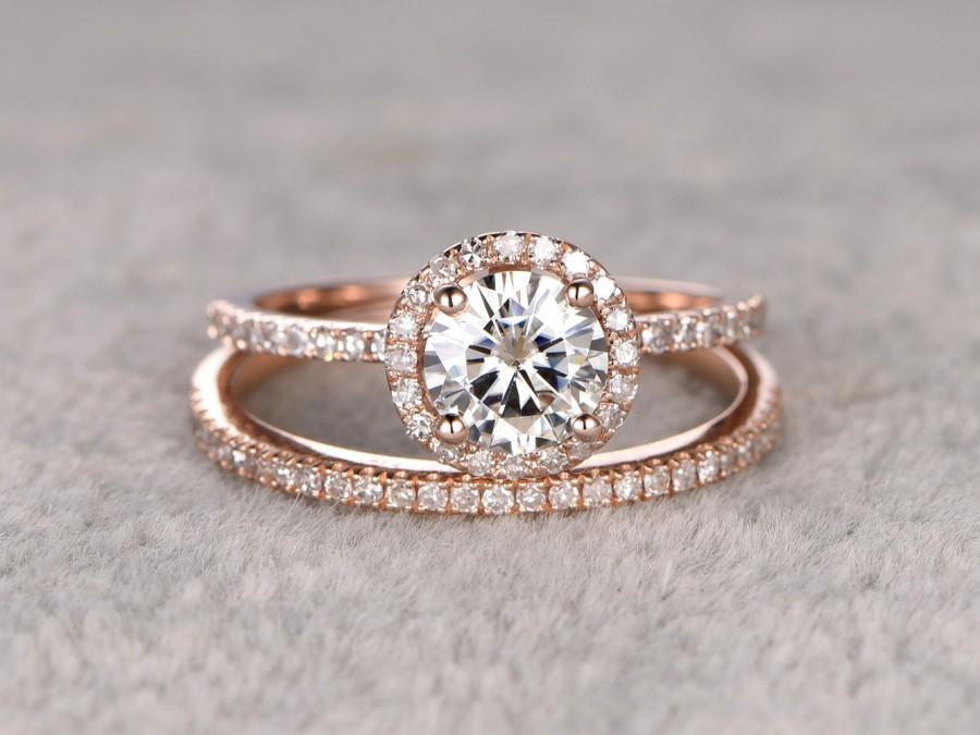 Mariage - 2 Moissanite Bridal Set,Engagement ring Rose gold,Diamond wedding Matching band,14k,6.5mm Round Cut,Gemstone Promise Ring,Pave,Half eternity