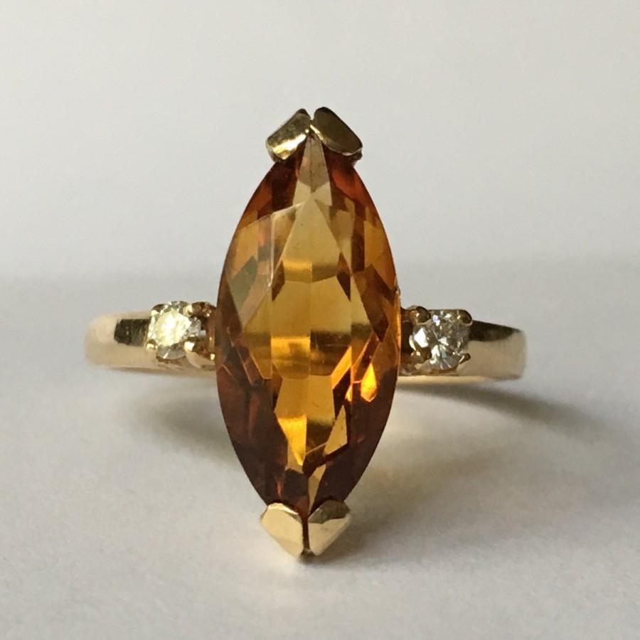 Vintage Citrine Ring Diamond Accents 14K Yellow Gold Estate