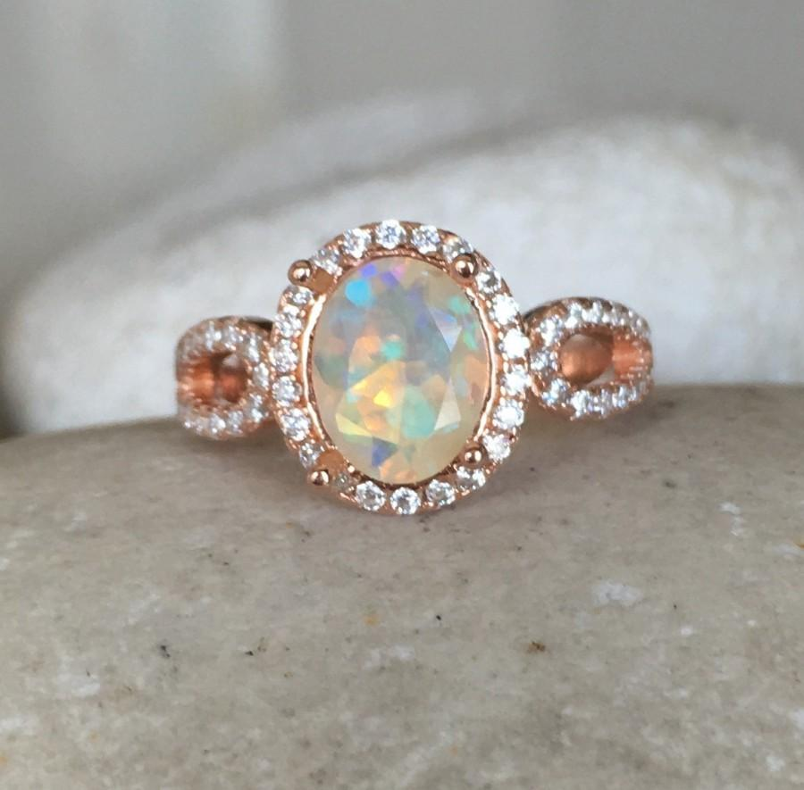 Natural Opal Engagement Ring Rose Gold Opal Ring Promise Ring For