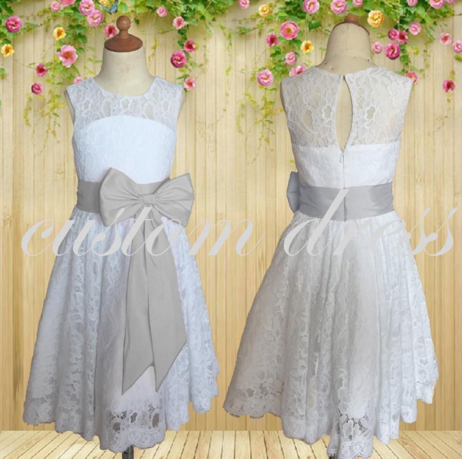 Hochzeit - 2016 new Flower Girl Dress,Gray belt Flower Girl Dress,white lace Birthday Party girl Dress, custom for buyer T08007