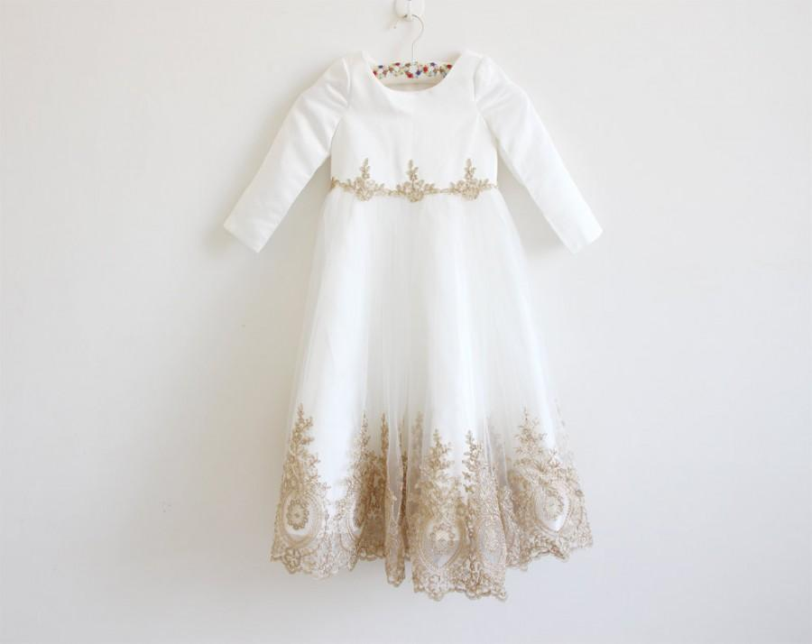 Mariage - Light Ivory Flower Girl Dress with Embroidery Long Sleeves Ivory Baby Girl Dress Ivory Embroidery Sleeves Flower Girl Dress Floor-length