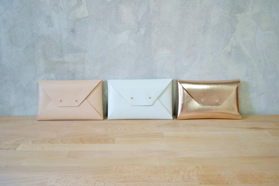 Свадьба - Set of bridesmaids leather clutches / Envelope clutch / Leather bag / Genuine leather / Bridal clutch / Bridesmaid gift