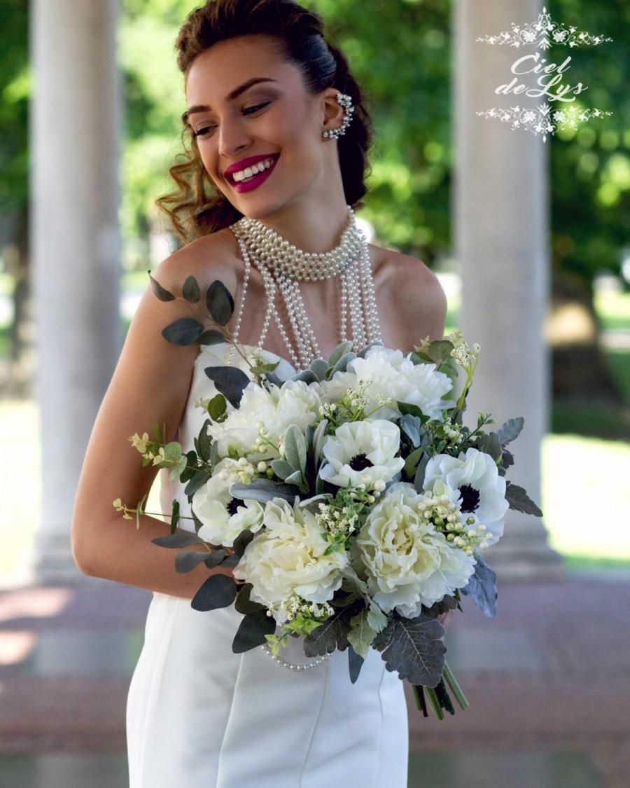 Peony Wedding Bouquet White Bridal Silk Flowers Realistic