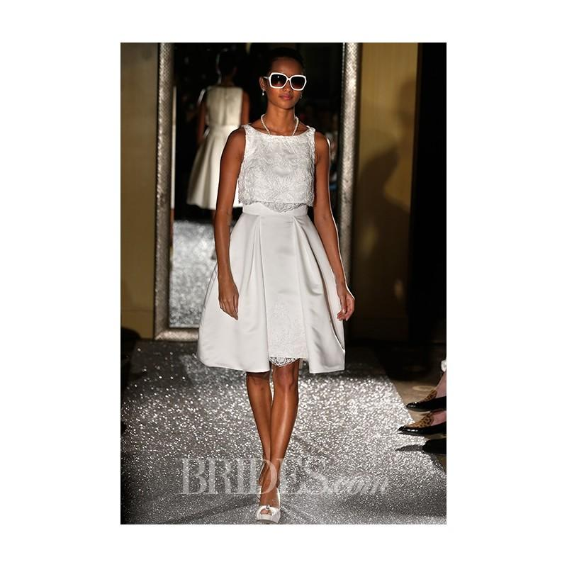 Wedding - Oleg Cassini - Fall 2015 - Style CRL661 Sleeveless Satin Beaded Lace Knee Length Bateau Neckline A-line Wedding Dress - Stunning Cheap Wedding Dresses