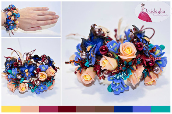 Hochzeit - Flower jewelry set dark blue orchid, peach rose and freesia, polymer clay, wedding necklace, bracelet, hair comb, flower jewelry, for bride