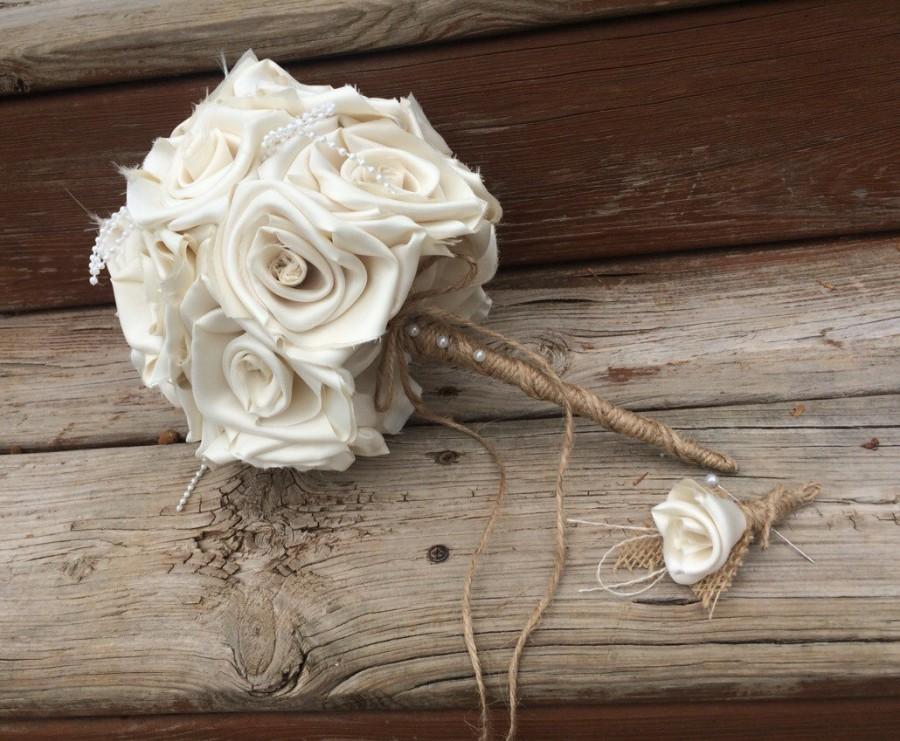 Wedding - Burlap Toss Bouquet, Wedding Bouquet, Burlap Wedding Bouquet, Cream Bouquet, Ivory Wedding, Burlap, Bride, Bridesmaid Bouquet, Toss Bouquet