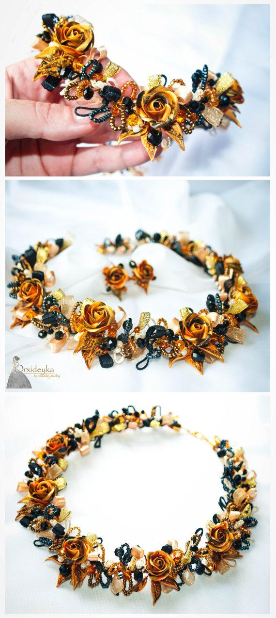 Hochzeit - Orange black rose necklace, orange black rose bracelet, orange black rose earrings, polymer clay rose, clay bracelet, statement necklace