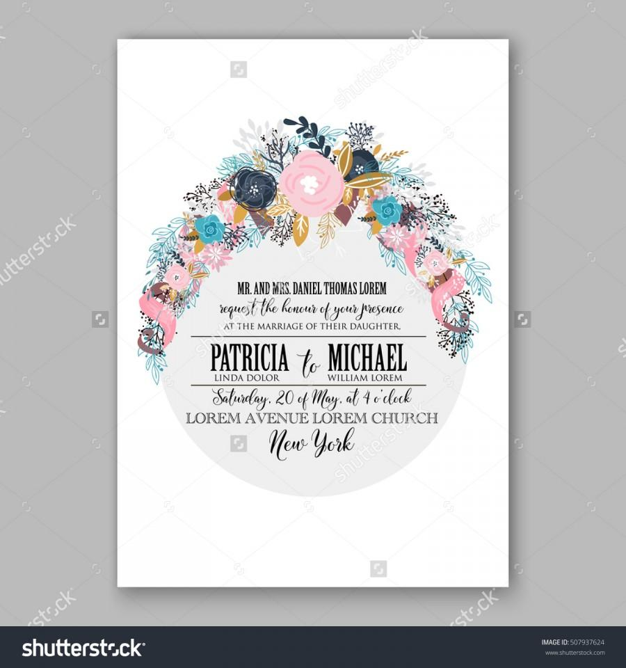 Свадьба - Wedding invitation printable template with floral wreath or bouquet of rose, peony flowers and daisy