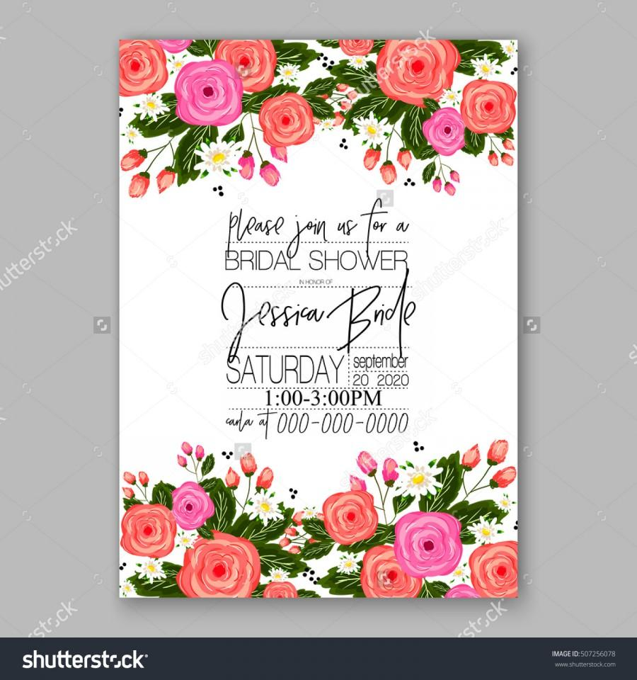 Wedding invitation printable template with floral wreath or bouquet wedding invitation printable template with floral wreath or bouquet of rose flower and daisy romantic pink peony bouquet bride wedding invitation template izmirmasajfo