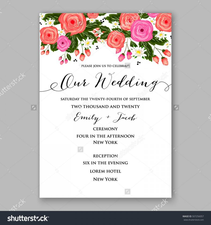 wedding invitation printable template with floral wreath or bouquet of rose flower and daisy romantic pink peony bouquet bride wedding invitation template