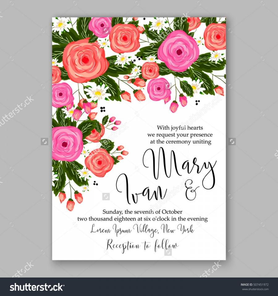 Wedding Invitation Printable Template With Floral Wreath Or Bouquet Of