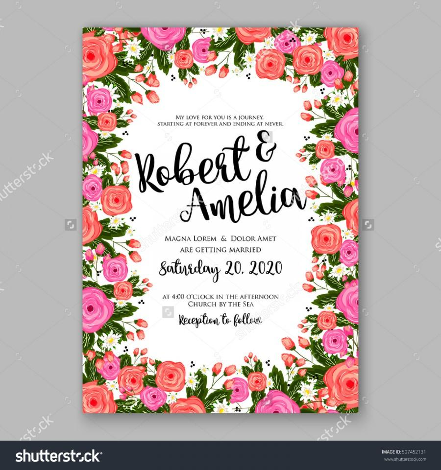 Wedding invitation printable template with floral wreath or bouquet wedding invitation printable template with floral wreath or bouquet of rose flower and daisy romantic pink peony bouquet bride wedding invitation template filmwisefo