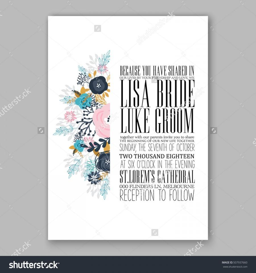 Wedding Invitation Printable Template With Floral Wreath Or Bouquet ...