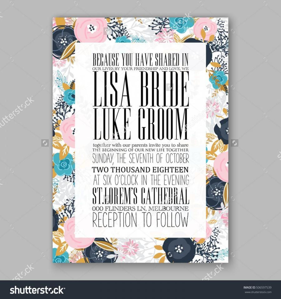 Mariage - Wedding invitation or card with tropical floral background. Greeting postcard in grunge retro vector Elegance pattern with flower rose illustration vintage chrysanthemum Valentine day card Luau Aloha