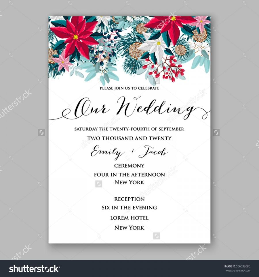 Mariage - Poinsettia Wedding Invitation sample card beautiful winter floral ornament Christmas Party wreath poinsettia, pine branch fir tree, needle, flower bouquet Bridal shower ribbon template wording