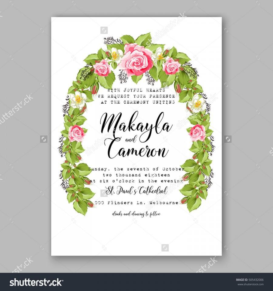 Romantic Pink Rose Bridal Bouquet Wedding Invitation Template Design ...