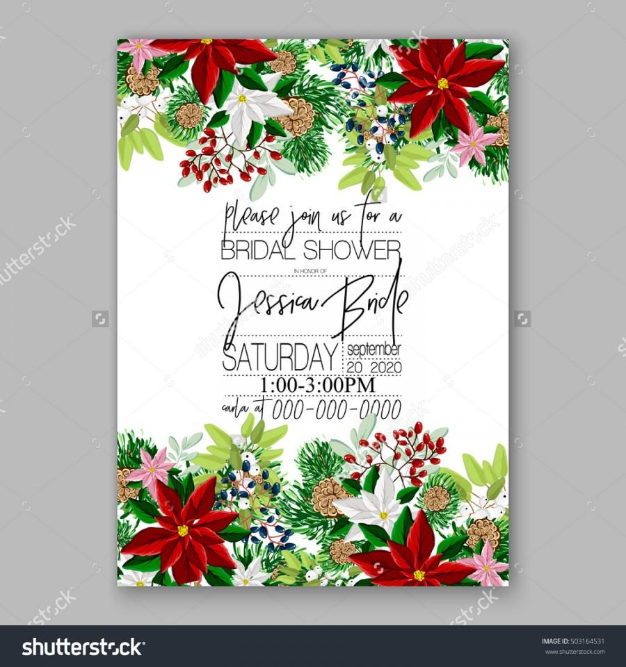 Bridal Shower Invitation Card Template With Winter Bridal Bouquet ...
