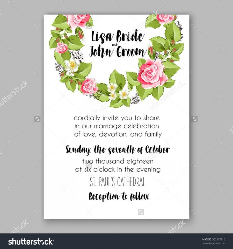 Wedding - Romantic pink rose bridal bouquet Wedding invitation template design