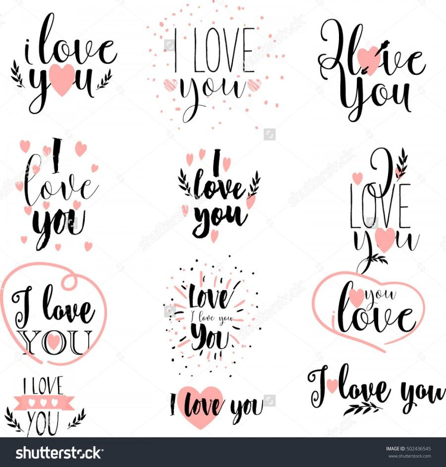 Wedding - Vector, hand drawn lettering set, romantic valentines day quote. I love You photo overlays