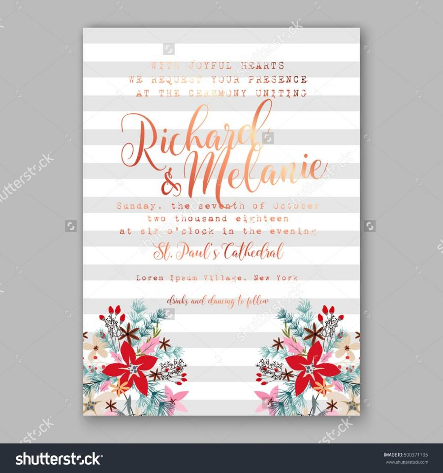 Wedding Invitation Card Template With Winter Bridal Bouquet ...