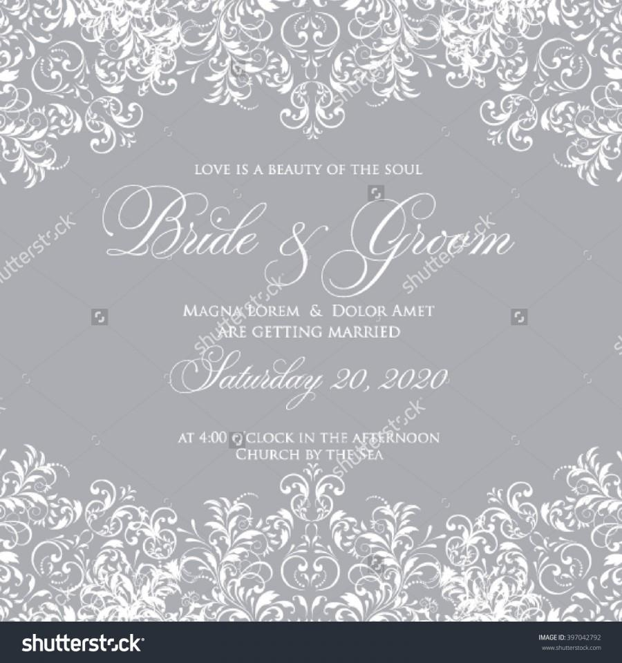 Wedding Card Or Invitation With Abstract Floral Background. Greeting ...