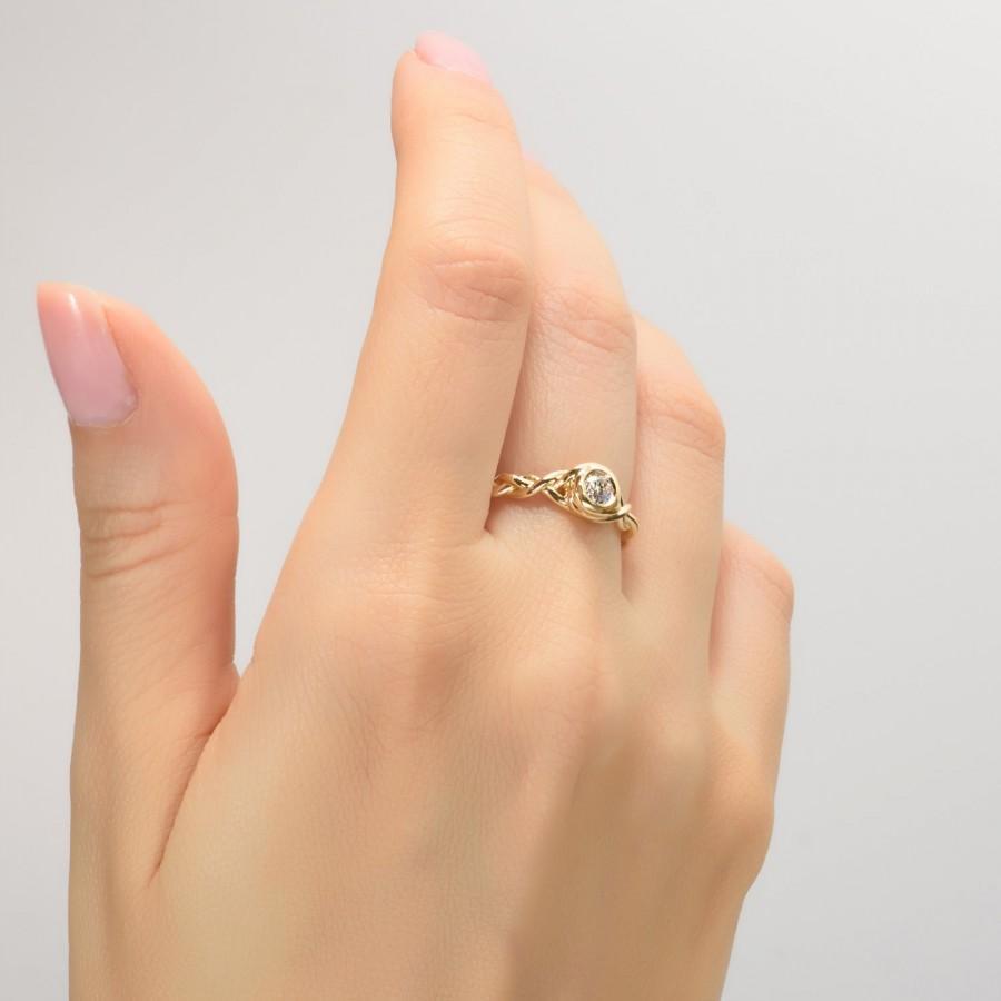 زفاف - Braided Engagement Ring - 14K Gold and Moissanite engagement ring, celtic ring, engagement ring, Moissanite ring, art deco, edwardian, 5