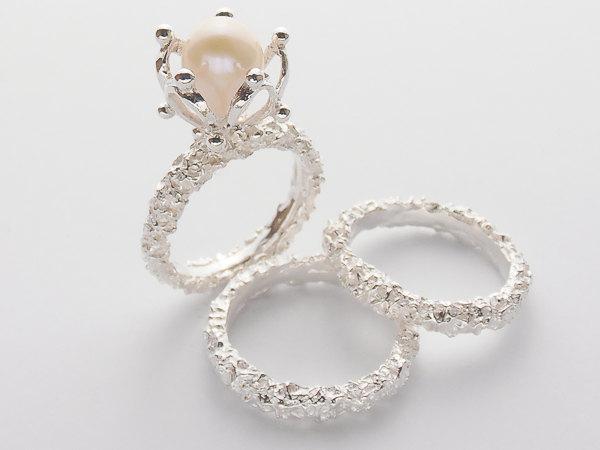 زفاف - Pearl Engagement Ring With Matching Wedding Bands Set.