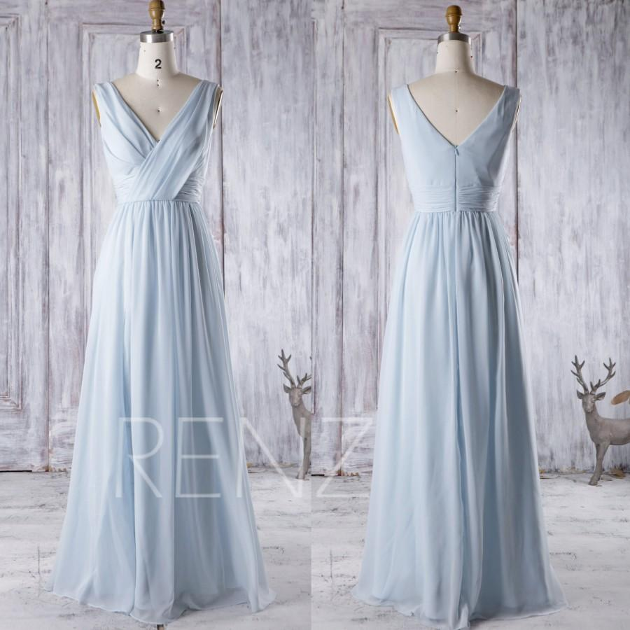 2016 light blue chiffon bridesmaid dress v neck wedding for Long blue dress for wedding