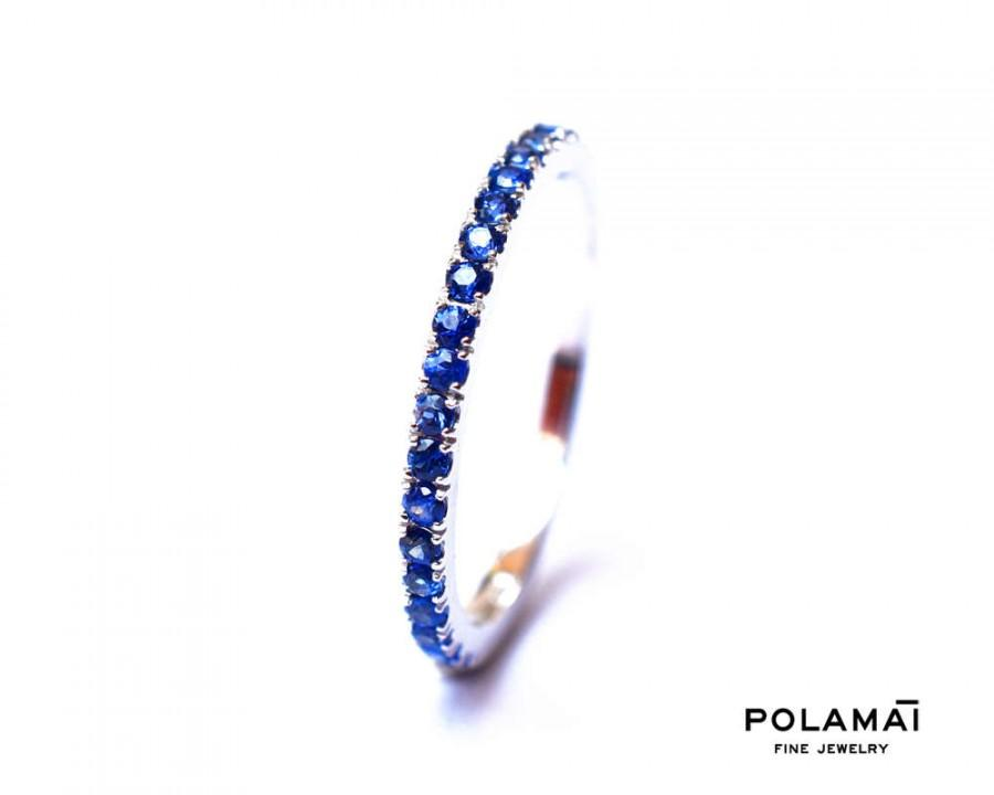 زفاف - Sapphire Eternity Ring 1.6mm 18k Gold . Stacking Ring . Wedding Band . Blue Sapphire Band . Yellow White Rose Gold . Half or Full Eternity