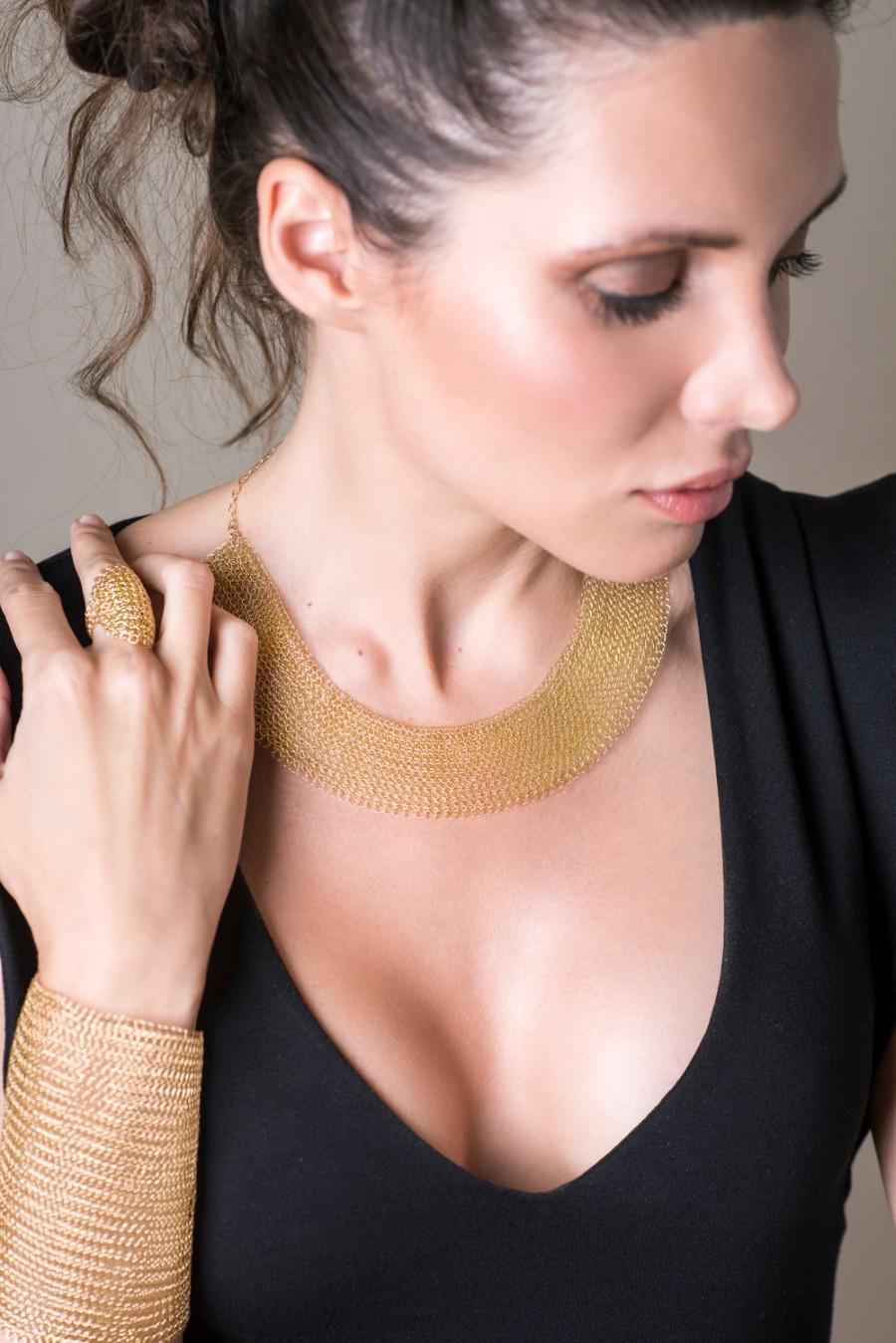 Mariage - Gold collar necklace , Bridal choker necklace , Wedding jewelry