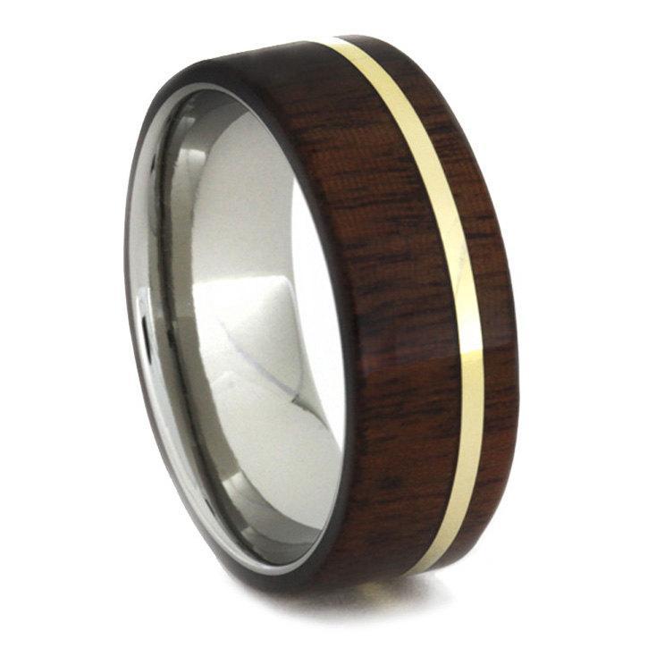 زفاف - Titanium Ring with Ipe Wood Overlay and 14k Yellow Gold Pinstripe; Personalized Wedding Band for Men and Women