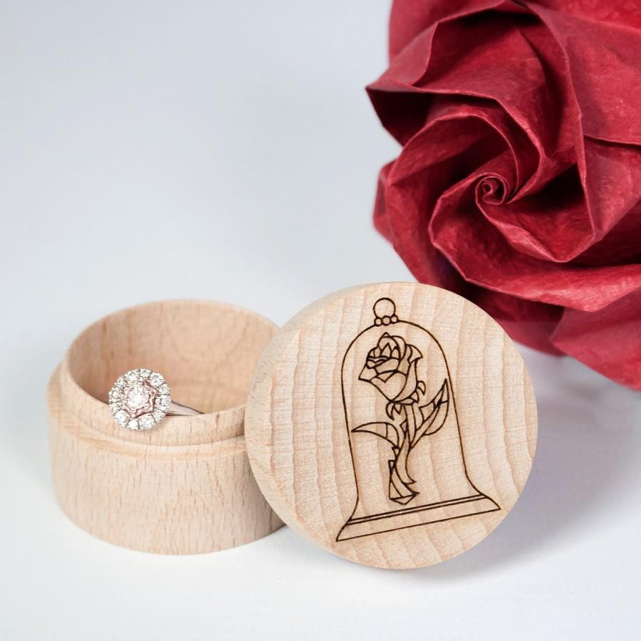 Wooden Ring Box Beauty And The Beast Ring Pillow Engraved Wedding