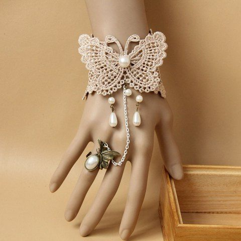 Mariage - Trendy Faux Pearl Pendant Lace Butterfly Pattern Bracelet With A Ring For Women