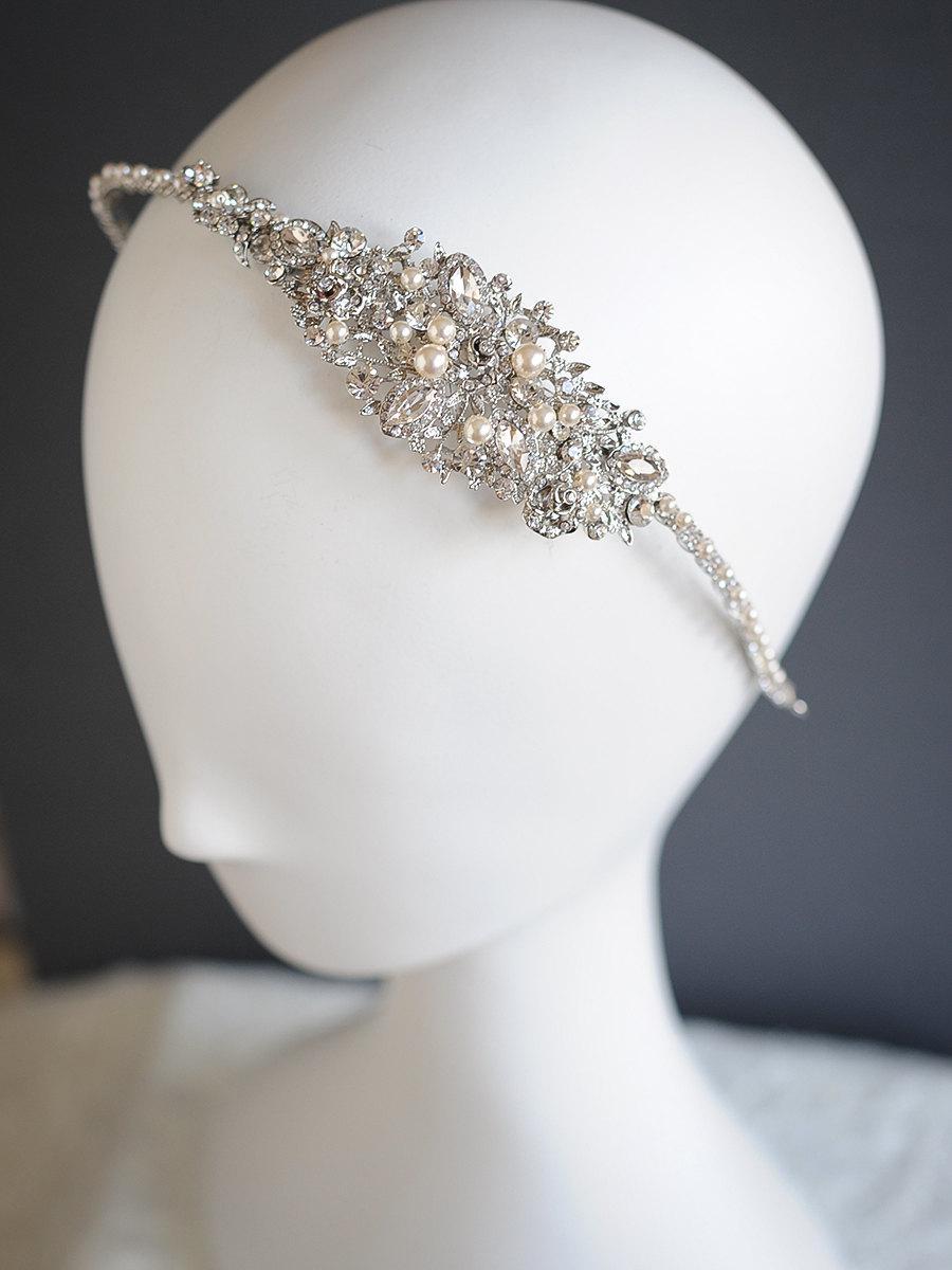 Mariage - Bridal Headband, Crystal Wedding Headband, Rose Flower Leaf Vine Headband, Swarovski Pearl Cluster Headpiece, Vintage Style Hairband, ROSA