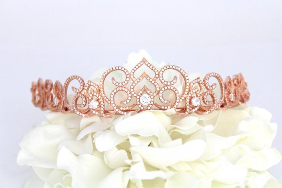 Mariage - Bridal tiara, Rose Gold tiara, Wedding headpiece, Bridal crown, Rhinestone tiara, Wedding crown, Wedding hair accessory, Bridal headband