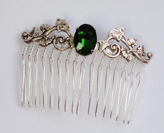 Mariage - Bridal Emerald stone silver Hair Comb Swarovski crystal hairpins brides bridesmaids flower wedding Beach Victorian Vines Leaves Classic