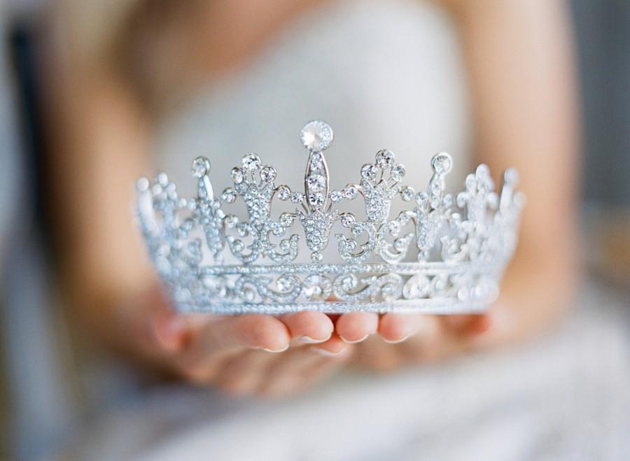 Full Bridal Crown Swarovski Crystal Wedding Crown Portia Silver