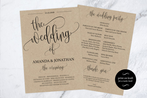 wedding program printable printable wedding program wedding