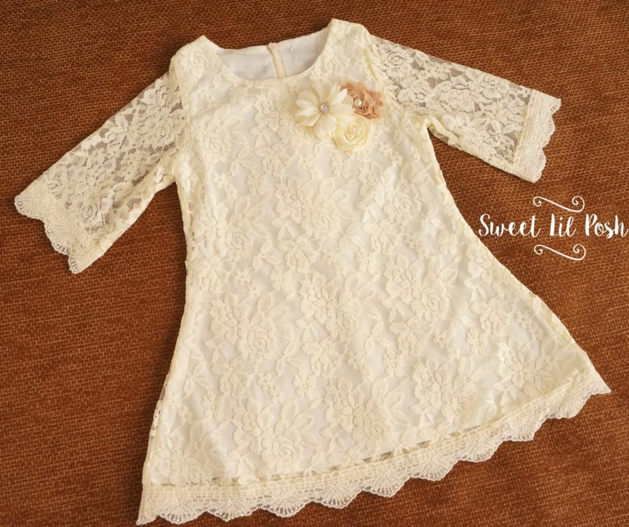 Mariage - Ivory Lace Girl Dress, Flower Girl Dress, Ivory Flower Girl, Rustic Flower Girl, Lace Flower Girl Dress, Country Wedding, Toddler Lace Dress