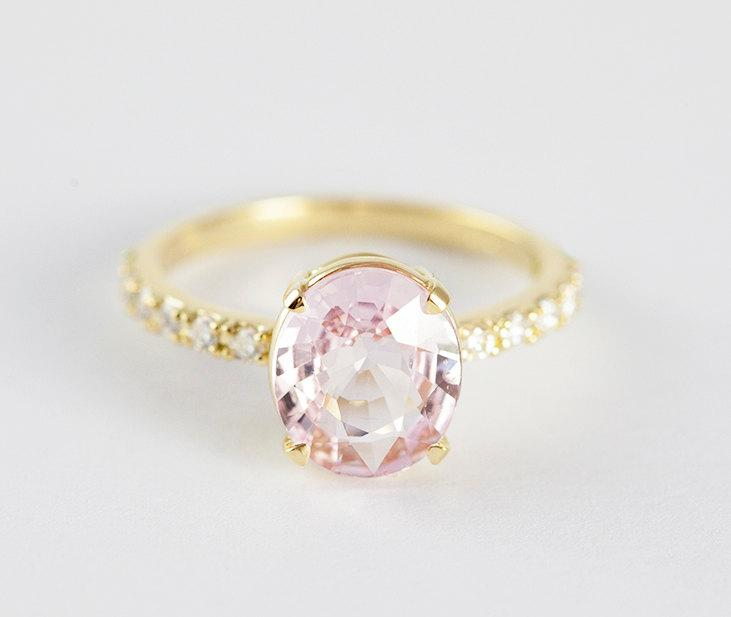 Wedding - Peach Sapphire Ring, Peach Sapphire Engagement Ring, Peach Pink Sapphire Ring, Oval Cut Engagement Ring, 18k Yellow Gold