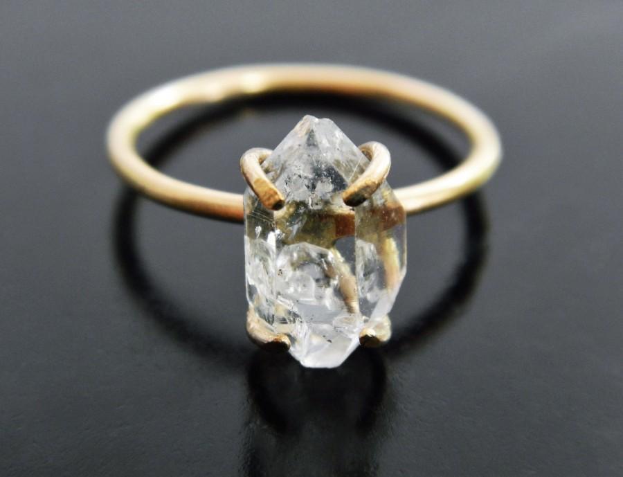 Herkimer Diamond Engagement Ring Quartz Crystal Ring Gold Fill