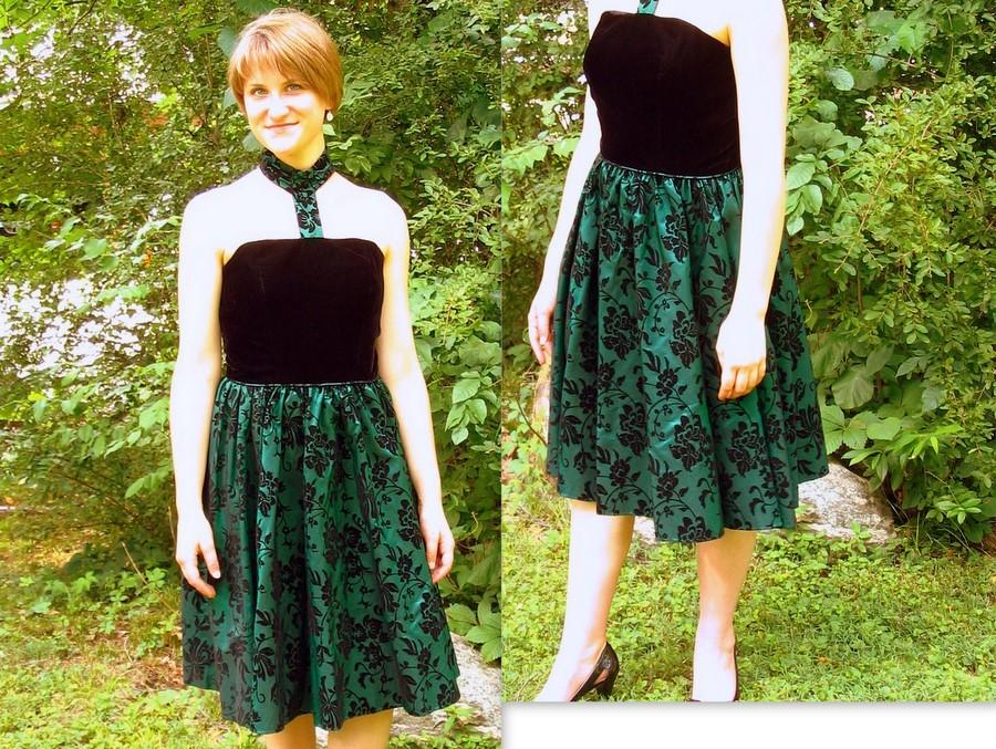 Mariage - Upcycled Green and Black Prom, Cocktail Party Dress, Modern Size 8, Small