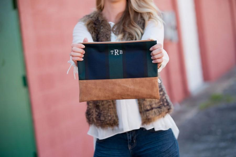 Mariage - Plaid Monogram Cosmetic Bag, Monogram Accessory Bag, Plaid Cosmetic Bag, Bridesmaid Gift, Bridal Shower Gift Gifts For Her Bridal Party Gift