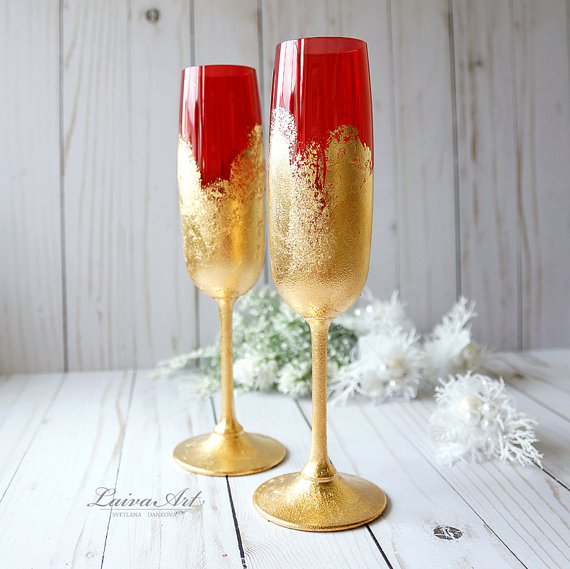 Mariage - Wedding Champagne Flutes Champagne Glasses Red Gold Wedding Toasting Flutes