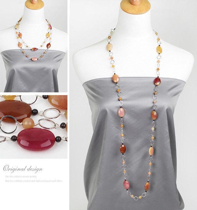 Wedding - Jade Necklace,Layered Necklace,Rainbow Jade,Long Necklace,Multi Strand Necklace,genuine jade necklace